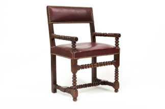 Garden Court Antiques Bobbin turned walnut armchair with red leather upholstery & nailhead trim, French, circa 1800. - San Francisco