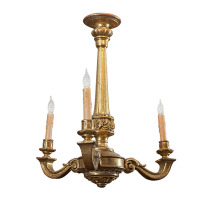 antiques, San Francisco: A French Carved Giltwood Three Light Chandelier