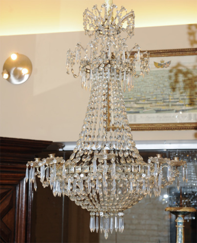 """Double crown, """"bag and tent"""" cut crystal chandelier, French circa 1810"""