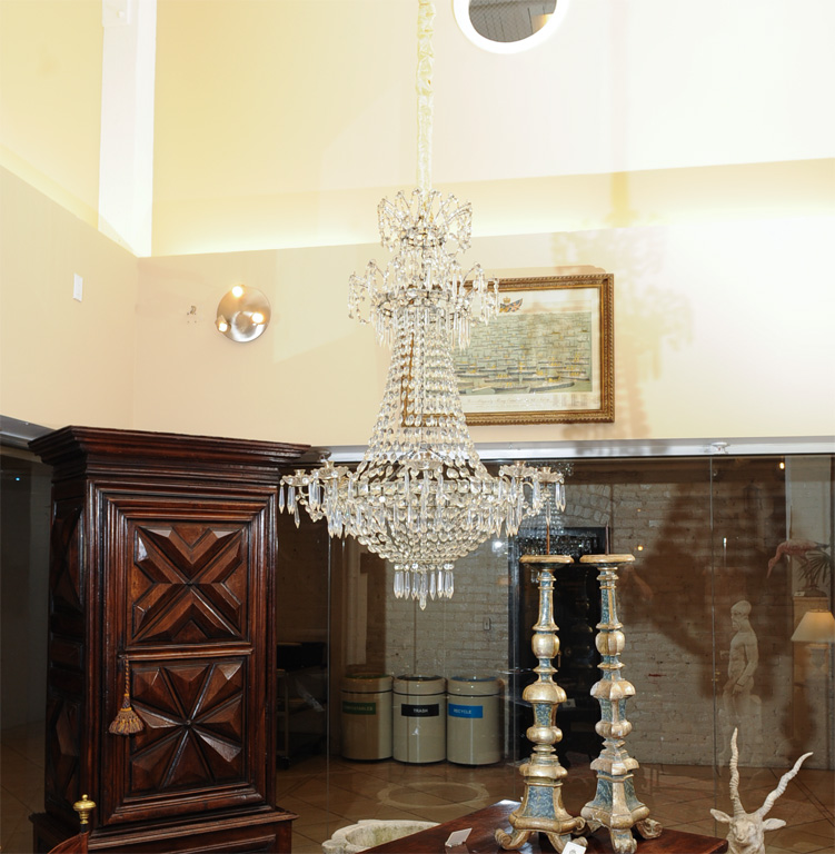 Double crown  bag and tent  cut crystal chandelier ... & Double crown