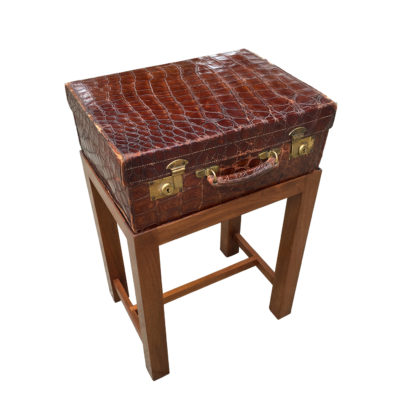Garden Court Antiques San Francisco An English Alligator Leather Suitcase on Later Stand, circa 1880;