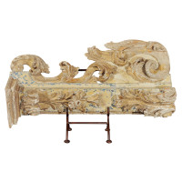French paint and parcel gilt architectural carving, circa 1760