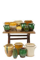 collection of French confit glazed antique pots (Pots de Confit)