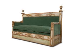 French Empire Giltwood Settee with later velvet upholstery. Imperial bee motif on back; Circa 1810