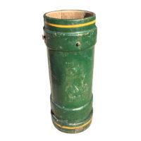 Garden Court Antiques, San Francisco Green leather and cork English naval Artillery bucket, circa 1880.