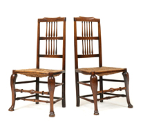 Garden Court Antiques Pair Rush Seat Side Chairs