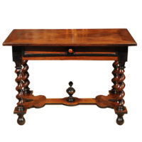 Garden Court Antiques - French walnut Baroque Revival writing table with carved barley twist legs and single drawer, circa 1830