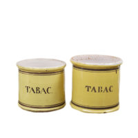 """Garden Court Antiques - Pair of yellow glazed ceramic """"Tabac"""" jars"""