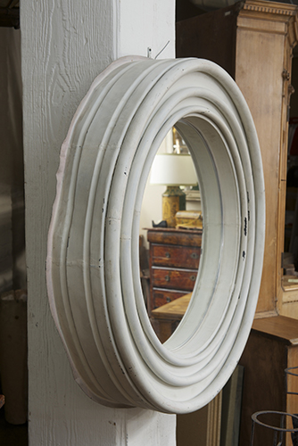 Round Painted Zinc Architectural Element With Mirror