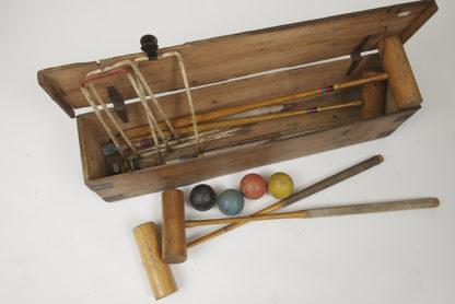 Antique croquet croquet set with box.