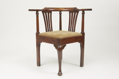 Garden Court Antiques, San Francisco Georgian Fruitwood corner chair with drop seat. English, circa 1750.