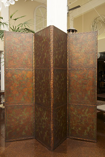 Four Panel Painted Leather Screen, English circa 1860
