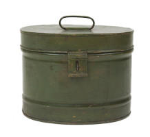 Green Metal Hat Box