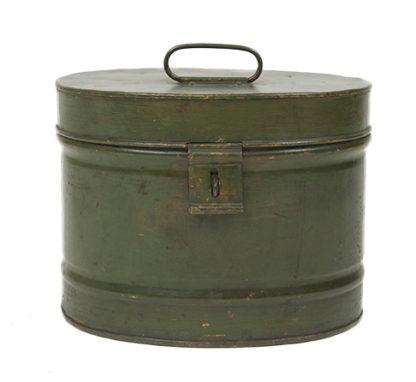 Green Metal Hat Box