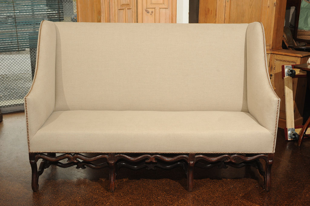 17th Century High Back Sofa With Carved Walnut Base Garden Court Antiques