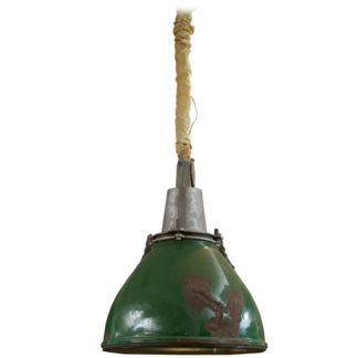 Green painted industrial hanging lantern, English circa 1900