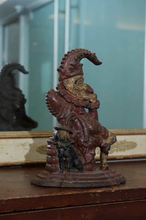 Painted Cast Iron Door Stop Depicting Punch And His Dog, Toby, English  Circa 1880