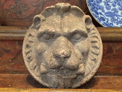 Pair of cast iron lion masks circa 1900 Garden Court Antiques San Francisco