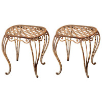 Garden Court Antiques, Pair Of 19th Century French Iron Garden Stools