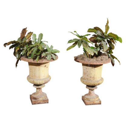Pair of French Painted Iron Urns with classic egg and dart and lobed elements; Circa 1840