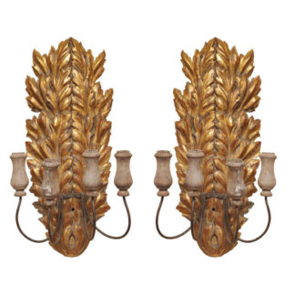 Pair of Italian carved giltwood sconces, circa 1820