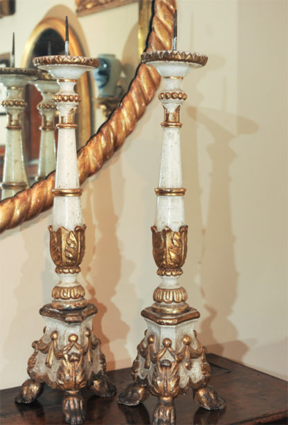 Lovely pair of large scale carved paint and parcel gilt Italian pricket sticks circa 1860