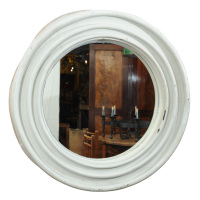 Round painted Zinc Architectural Element with mirror. French, Circa 1870.
