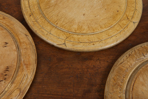 Round wooden bread boards
