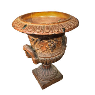 Garden Court Antiques, San Francisco - A salt-glazed eathenware double handled urn with detailed grape relief
