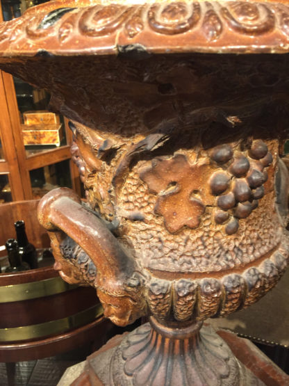 Beautiful Salt Glazed Urn with Grape Relief, mid-19th Century