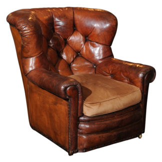 Tufted Leather Armchair with original leather, circa 1860