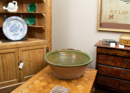 Very Large Green Glazed Dairy Bowl, French circa 1880
