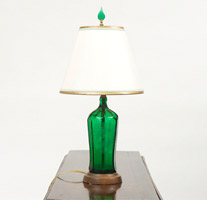 Garden Court Antiques Green Bottle Lamp