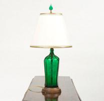 Garden Court Antiques Green Bottle Lamp