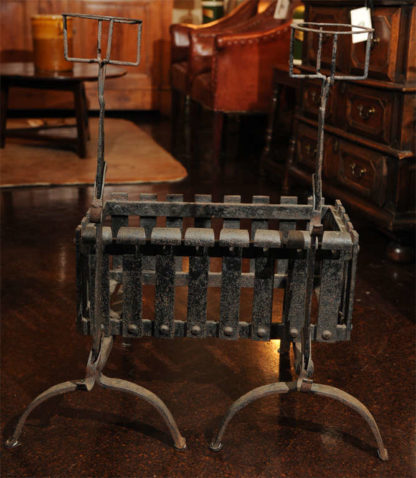Garden Court Antiques - Iron Firedogs with Log Basket; English circa 1880