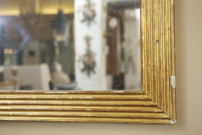 Large Scale French Fluted Giltwood Mirror