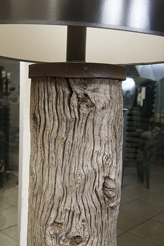Large Scale Iron Bound Oak Roller wired as a floor lamp