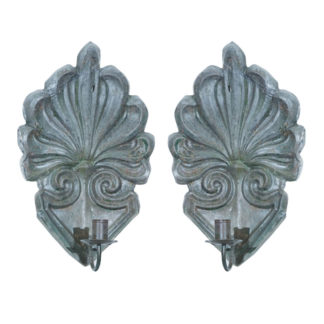 Pair of Zinc Single Arm Sconces, English circa 1820