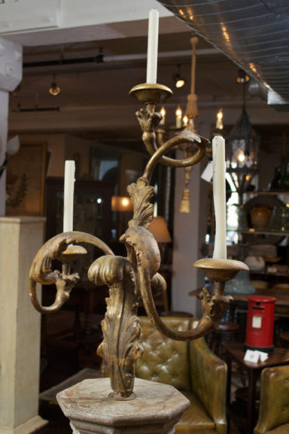 Carved Giltwood Candelabra on Later Faux Marble Base. French circa 1800