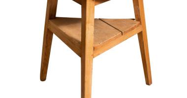 Ash Cricket Table with Triangular Shelf, English circa 1860