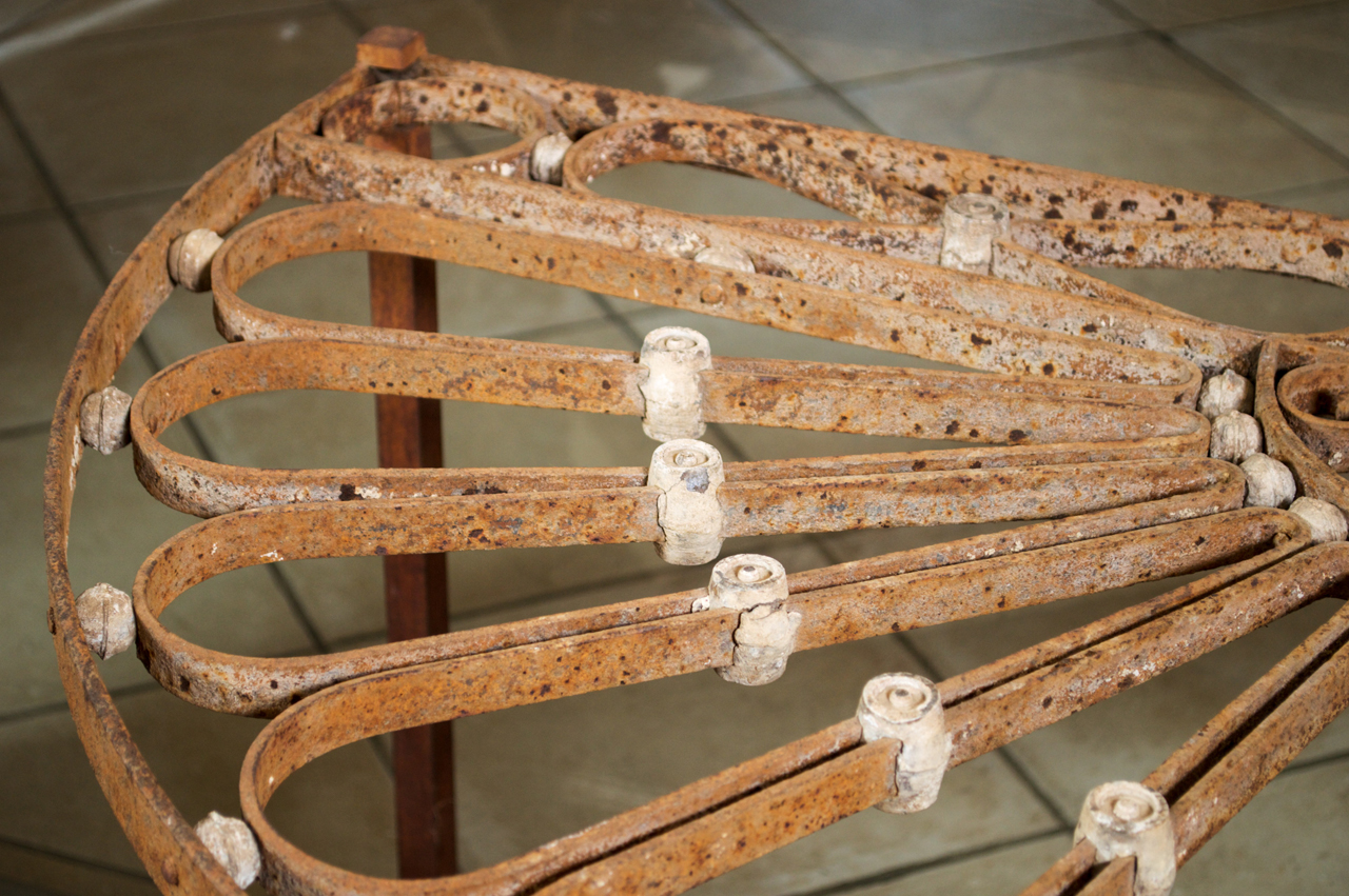 French Ironwork Transom Mounted As A Demilune Table