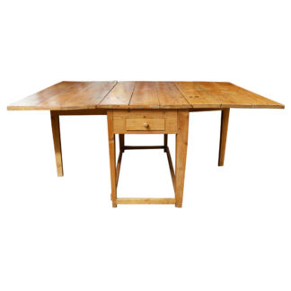 Swedish Pine Drop-leaf Table, with single drawer, circa 1880