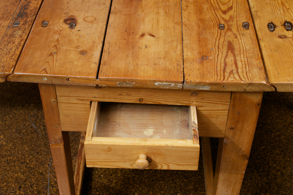 Swedish Pine Drop Leaf Table, With Single Drawer, Circa 1880