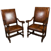 Pair of Carved French Walnut Armchairs