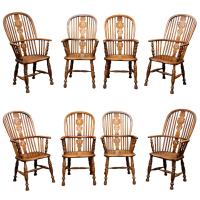 Set of Eight High-back Windsor Armchairs, English circa 1850