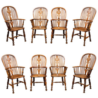 Set of Eight High-back Windsor Armchairs, English circa 1850