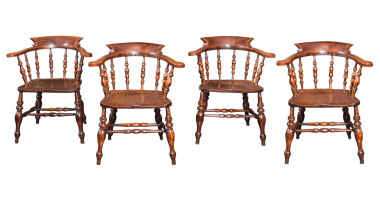 Set of Twelve English Captain's Chairs, circa 1860