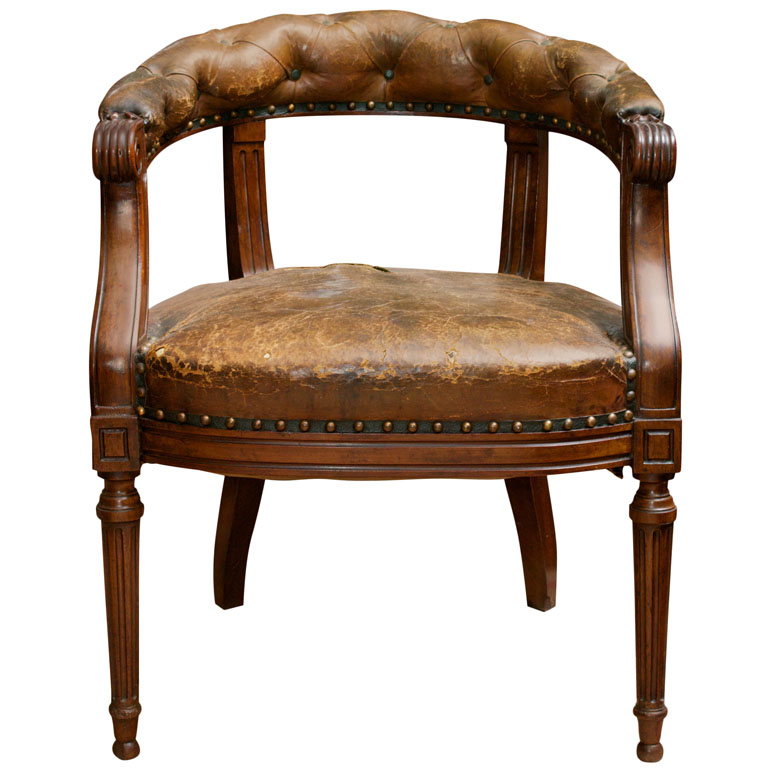 Tufted Leather And Mahogany Barrel Back Library Chair, English Circa 1860