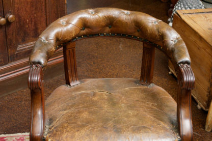 Tufted Leather and Mahogany Barrel-back Library Chair, English circa 1860
