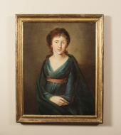 19th Century Oil on Canvas, Portrait of a Woman circa 1860